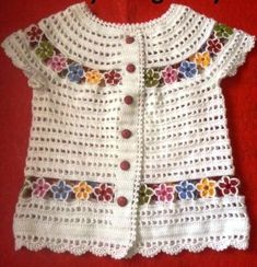 Vest decorated with colorful flowers Crochet Baby Dress Pattern, Crochet Baby Clothes, Baby Knitting Patterns, Lace Knitting, Gilet Crochet, Crochet Blouse, Crochet Girls, Crochet For Kids, Diy Crafts Dress