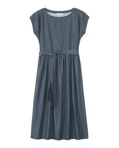 Soft drapey dress with boat neck, cap sleeves, waist tie, just below knee length