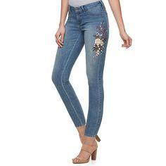 Women's Jennifer Lopez Embroidered Skinny Ankle Jeans