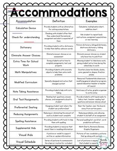 Special Education Teacher Binder: Editable Accommodations are to be done by law for special education students. This quick reference sheet is included in my special education teacher binder of frequently used accommodations with examples. Teacher Planner, Teacher Binder, Organized Teacher, Iep Binder, Teacher Hacks, Special Education Classroom, Elementary Education, Inclusion Classroom, Teaching Special Education