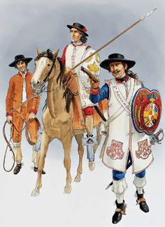 The Spanish Army in North America - The Northern Interior Provinces • Trooper, Cuera cavalry, undress uniform, c. 1780s  • Trooper, Cuera cavalry, mid 18th century  • Trooper, Cuera cavalry, as 1772 regulations