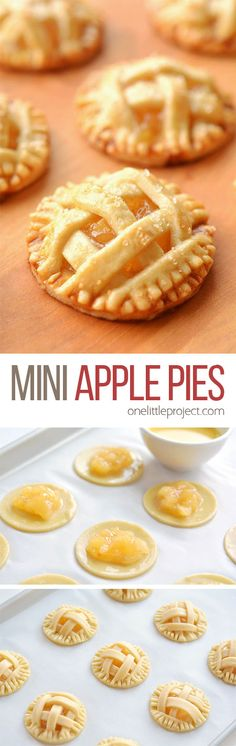 These mini apple pie These mini apple pies are SO GOOD! There's nothing like warm apple pie with a delicious flaky crust and that gooey sweet apple filling. These delicious fall treats will disappear fast! Apple Desserts, Mini Desserts, Apple Recipes, No Bake Desserts, Just Desserts, Dessert Recipes, Baking Desserts, Snacks Recipes, Apple Hand Pies