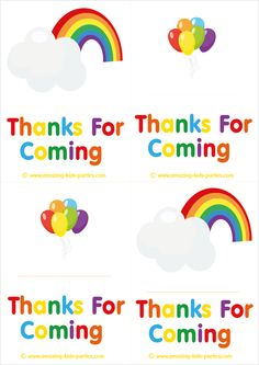 FREE Rainbow Thank You Cards & Notes at http://www.amazing-kids-birthday-party-ideas.com/kids-party.html