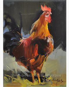 The cock Original Oil Painting ; Size as 5 inch x 7 inch on WOOD PANEL Signed by artist. Chicken Painting, Chicken Art, Summer Painting, Love Painting, Rooster Art, Pet Chickens, Galo, Animal Paintings, Bird Art