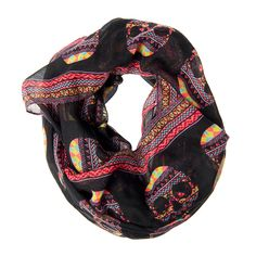 Halloween Day of the Dead Colorful Skulls Infinity Scarf | Claire's