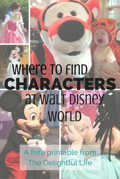 Headed to Walt Disney World? Looking for your favorite character? Be sure to take this free printable on your trip! {Locations of commonly seen characters in all four parks.}