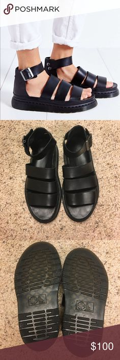 Doc Marten Clarissa Sandals Vegan leather sandals worn only a couple times. Very sturdy material and work with any outfit! Marked EU 37 but run small! Works for a 6.5! Dr. Martens Shoes Sandals