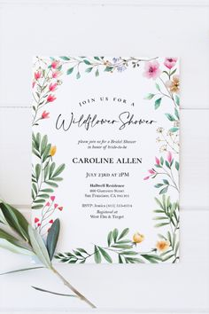 Wildflower Bridal Shower Invitation | Editable Bridal Shower or Garden Party Template | Garden or Flowers | Wedding | Instant Download Flower Bar, Summer Bridal Showers, Garden Shower, Photo Center, Shower Games, Bridal Shower Invitations, Wild Flowers, Rsvp, Wedding Flowers