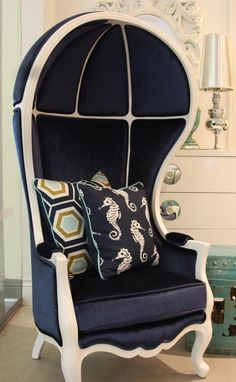 nautical navy and white balloon chair. I will have this style chair in EVERY color. Versailles, Hollywood Furniture, Porter Chair, White Balloons, Take A Seat, Cool Chairs, Hollywood Regency, Retro, Navy And White