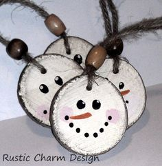 Snowman+Christmas+Ornament++Double+Sided++by+RusticCharmDesign,+$19.00