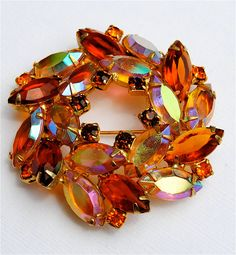 Vintage Golden Carnival Glass Brooch. I can remember my mom having one just like this. I thought it was so beautiful.