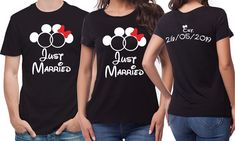 Custom Just married Mr. black T-Shirts set. His and her set, with custom wedding date. Newly weds, Husband and wife mouse ears by SoulGoldTees on Etsy Red Glitter, Mouse Ears, Baby Grows, Just Married, Custom Items, Newlyweds, Husband, T Shirts For Women, Free Uk