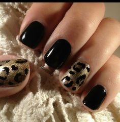 Black nails with cheetah print