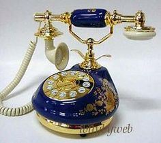 Antique Vintage Style 8921 Royal Blue Porcelain Phone
