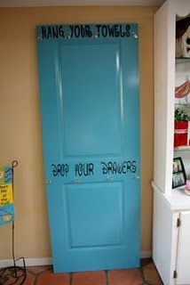 Pool Towel hangers using a door - so cute!!!