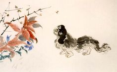 (Korea) Dog by Jang Seung-eop aka Owon. the Genius painter of Joseon Kingdom. colors on paper. Korean Painting, Korean Art, Rooster, Oriental, Arts And Crafts, Birds, Flowers, Pictures, Asian