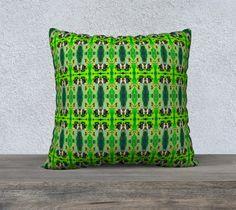 "22"" x 22"" pillow ""Green Emotion"" by Gaya @ArtofWhere #signature #unique #art #designs #exclusive #original #artistic #creation #fashion #accessories #designer #collection #home #decor #artofwhere #green #pillow #pillowcase #bedding #gift"