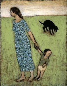 Mother and Child with Dog Vomiting - Brian Kershisnik Brian Kershisnik, Paintings I Love, Acrylic Paintings, Oil Paintings, Dog Stories, Art Thou, Painting People, Cecile, Simple Art