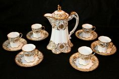 Nippon Chocolate Pot Set   ... , Hand Painted Nippon Chocolate Set with Six Cups and Saucers and Pot