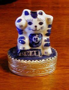 Porcelain Lucky Cat Wish Box - love that it is in blue & white.