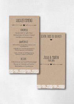 Sie sind auf der Suche nach einer zauberhaften Menükarte für Ihre rustikale bzw. Vintage Hochzeit? ♥♥♥  Bitte schicken Sie mir zur Bestellung den Namen des Brautpaares, das Hochzeitsdatum und das...