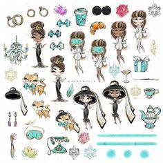 "Karamfila's ""A Fancy Breakfast"" collection. Audrey Hepburn Wallpaper, Audrey Hepburn Art, Audrey Hepburn Illustration, Craft Logo, Cat Clipart, Tiffany Party, Fashion Clipart, Poppy Parker, Barbie"