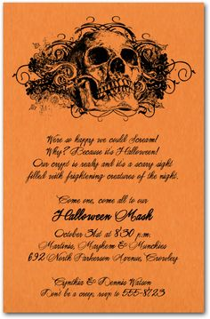 Grunge Skull Halloween Party Invitations