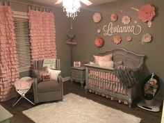 Baby girl grey and pink bedroom. Handmade drapes and flowers. Love how everything turned out
