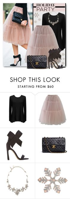 """Holiday Party Tulle"" by brendariley-1 ❤ liked on Polyvore featuring Chicwish, Chanel, Oscar de la Renta and HolidayParty"
