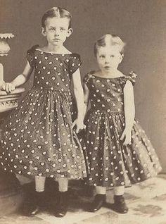 Civil War Era Little Girls Matching Dresses by Tolan Philadelphia PA CDV   eBay