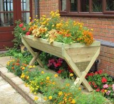 Wooden trough planter - add height to the garden - plant veggies or flowers