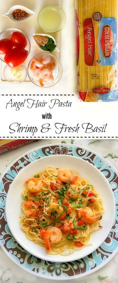 Angel Hair Pasta with Shrimp and Fresh Basil (shrimp pasta tomato angel hair) Seafood Recipes, Pasta Recipes, Dinner Recipes, Cooking Recipes, Healthy Recipes, Pasta Meals, Appetizer Recipes, Pasta Dishes, Food Dishes