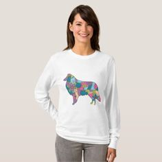 Women's Basic Long Sleeve T-Shirt Collie  $24.25  by Marishkayu  - cyo diy customize personalize unique