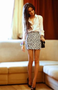 Print black and white skirt w/ button down white shirt