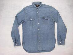 RRL vtg CHIN STRAP SELVEDGE CHAMBRAY WORK L/S SHIRT S denim jean workwear denim #RRL #ButtonFront