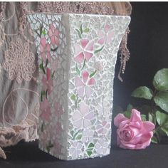 $40.00 Pink Blossom Mosaic Vase by mosaicsbyfosic on Handmade Australia More