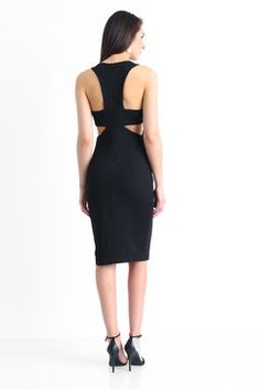 English Factory Cut Out Midi Dress in BLACK - back view