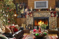 60 Fabulous Festive Decorations for Christmas 2012. I love this for Christmas. I love fireplaces. They add a certain warmth to a room.