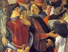 Particolare dell'adorazione dei magi Sandro Botticelli 1475 Tempera su tavola Commissionato da Gaspare di Zanobi, per la propria cappella funebre nella Basilica di Santa Maria Novella, Firenze Galleria degli Uffizi, Firenze