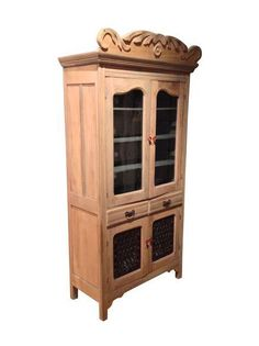 Antique Pine Cabinet With Stained Glass on Chairish.com