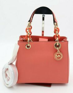 4dfe40946480 NWT MICHAEL Michael Kors Cynthia Pink Small Saffiano Leather Satchel Bag  $298 #MichaelKors #Satchel