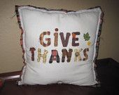 """Appliqued """"Give Thanks"""" Pillow"""