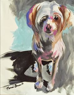 11x14 acrylic contemporary chinese crested dog portrait. custom work welcome