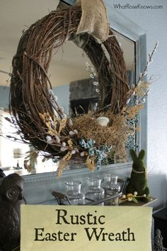 Create an easy Rustic Easter Wreath for your home with just a few supplies! This wreath would cost $40 - $50 in stores but you can make it yourself for half that cost.