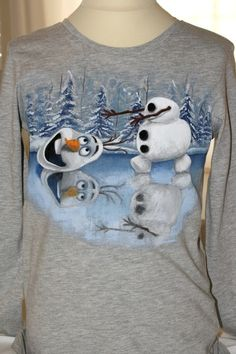 """Hand painted boy's t shirt, featuring Olaf the Snowman, from the movie """"Frozen"""", chasing his head on a frozen lake. The colors are non-toxic, water based, permanent fabric colors. Frozen Painting, Paint Shirts, Painted Shoes, Boys T Shirts, Gifts For Boys, Birthday Presents, Craft Projects, Hand Painted, Skates"""