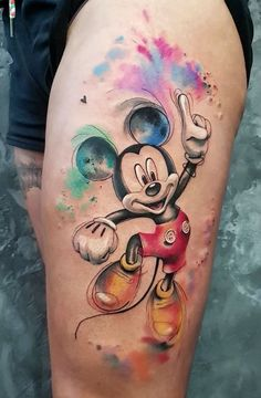 Colorful Mickey Mouse Tattoo Made by Simona Blanar Tattoo Artists in Prague, Czech Republic Region Mickey Tattoo, Mickey Mouse Tattoos, Disney Tattoos Simple, Disney Sleeve Tattoos, Tattoo Disney, Body Art Tattoos, Print Tattoos, Small Tattoos, Temporary Tattoos