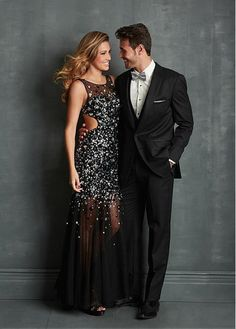 $186.22 Black prom gown , Sequin prom dress ,Open back dress ,Long party dress…