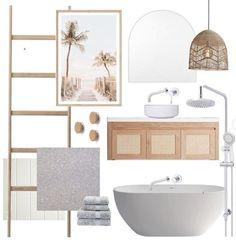 New Bathroom Designs, Bathroom Design Inspiration, Bathroom Interior Design, Kitchen Interior, Bathroom Ideas, Coastal Bathroom Decor, Coastal Style Bathrooms, Modern Boho Bathroom, Timber Vanity