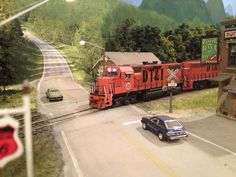 HO (1:87) scale model railroad. Notice how nicely the foreground blends with the backdrop.