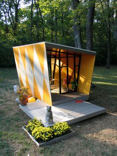 Bright and cheery geometric pattern in this back yard escape/guest house | Tiny Homes